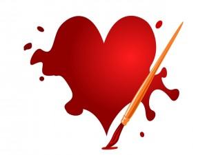 Postal: Pintando un corazón