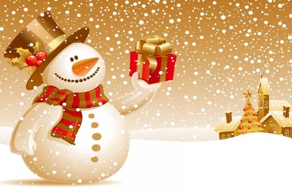 Muñeco de nieve con un regalo