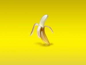 Plátano en fondo amarillo