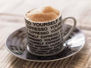 Postal: Café con espuma