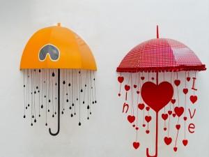 Postal: Sombrilla para enamorados