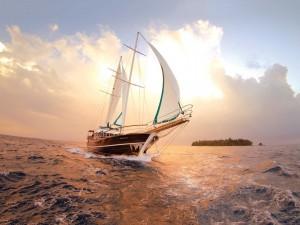 Postal: Velero en el mar