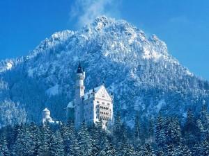 Postal: Nieve junto al castillo Neuschwanstein