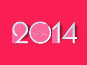 Postal: Feliz Año Nuevo 2014, en fondo rosa