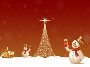 Postal: Muñecos de nieve junto al árbol de Navidad