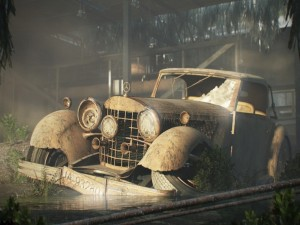 Postal: Un Mercedes que no ha soportado el paso del tiempo