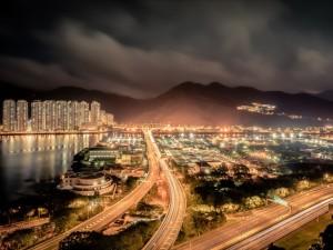 Postal: Hong Kong de noche