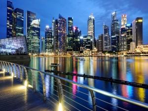 Postal: Singapur por la noche