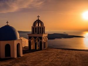 Postal: Puesta de sol en Santorini (Grecia)