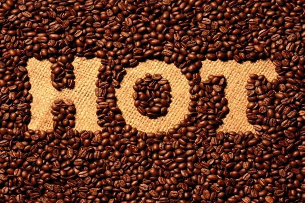 Hot, granos de café