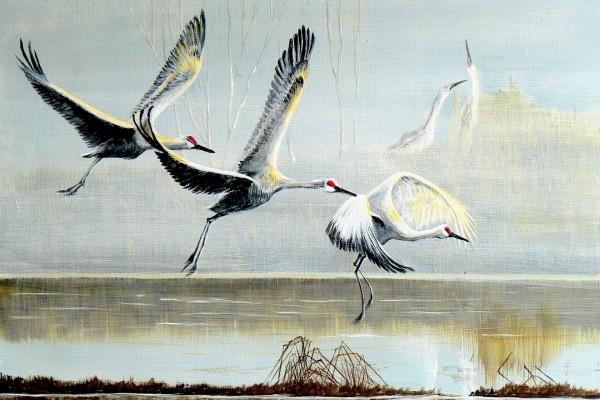 Pintura de cigüeñas volando