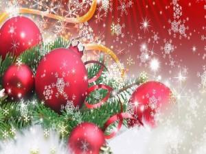 Postal: Bolas rojas navideñas