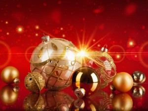 Postal: Adornos para festejar Navidad
