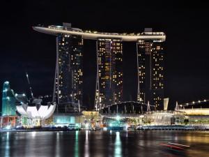 """Vista del edificio """"Marina Bay Sands"""", en Singapur"""