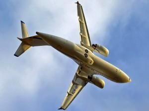 Avión en el aire visto desde tierra