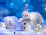 Copos de nieve, bolas y muñeco de nieve