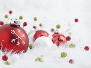 Bolas rojas y blancas para Navidad