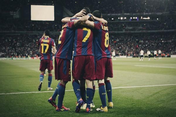 Los jugadores del Barça celebrando un gol