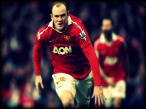 Postal: Wayne Rooney con la camiseta roja del Manchester United