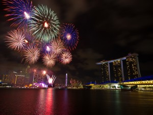 Postal: Fuegos artificiales en Singapur