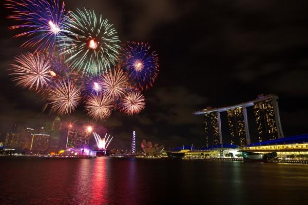 Fuegos artificiales en Singapur