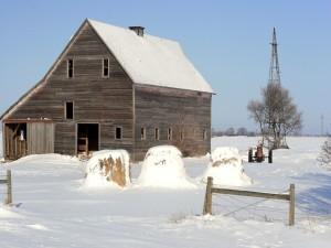 Postal: Granero cubierto de nieve