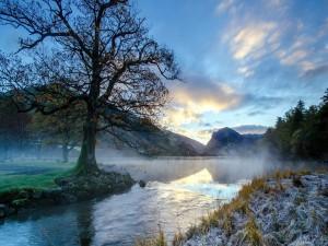 Postal: Niebla en el río