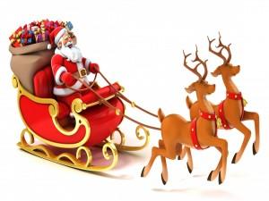 Postal: Papá Noel y su trineo