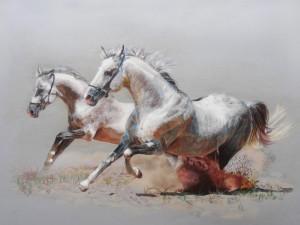 Postal: Pintura con caballos corriendo
