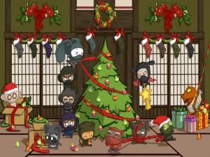 Postal: Ninjas armando el arbolito de Navidad