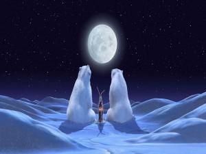 Osos de Coca-Cola admirando la luna