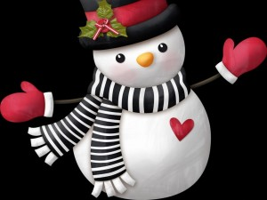 Postal: Muñeco de nieve con bufanda, sombrero y mitones
