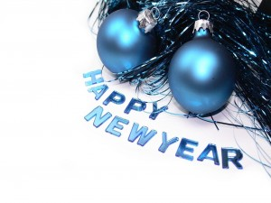 Postal: Happy New Year, en letras azules