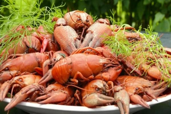 Plato con cangrejos de río