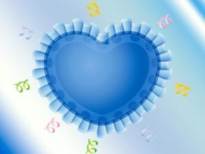 Postal: Corazón con volados azules