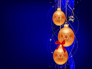 Postal: Bolas naranjas para Navidad