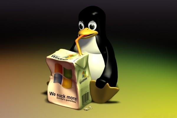 Linux bebiéndose a Windows
