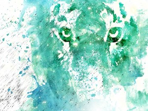 Postal: Un tigre artístico