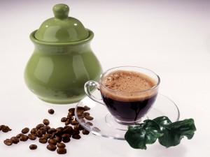 Café en una taza transparente