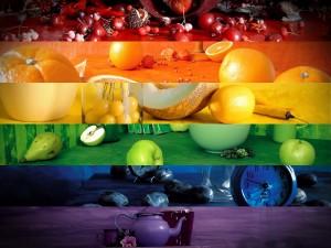 Mosaico de colores y frutas