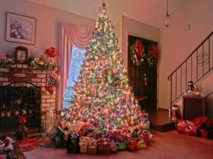 Postal: Árbol de Navidad y varios regalos