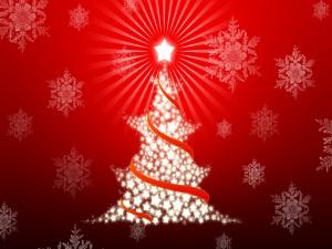 Postal: Árbol de Navidad con estrellas
