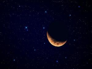 Postal: La Luna y el cielo estrellado