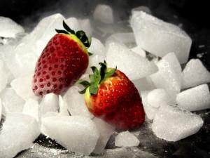 Postal: Fresas y hielo