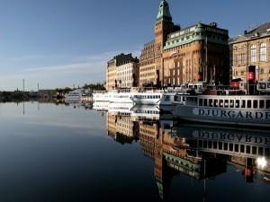 Postal: Barcos en Estocolmo, Suecia