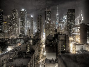 Postal: La ciudad de Nueva York en la noche