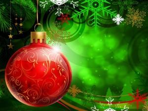 Postal: Gran bola roja de Navidad