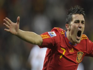 David Villa con la camiseta de la Selección Española de Fútbol