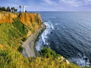 Postal: Faro en la costa