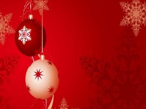 Bola blanca y bola roja de Navidad